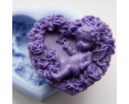 Ангел с розами 2D, форма для мыла силиконовая
