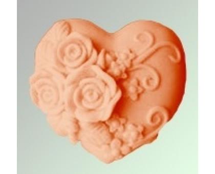 Сердце с розами 2D, форма для мыла силиконовая
