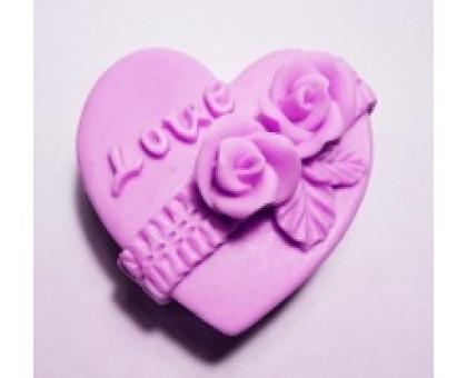 Сердечко Love с розами 2D, форма для мыла силиконовая