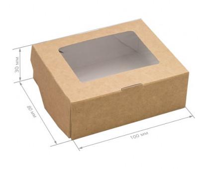 Коробочка Крафт с окном 100*80*35